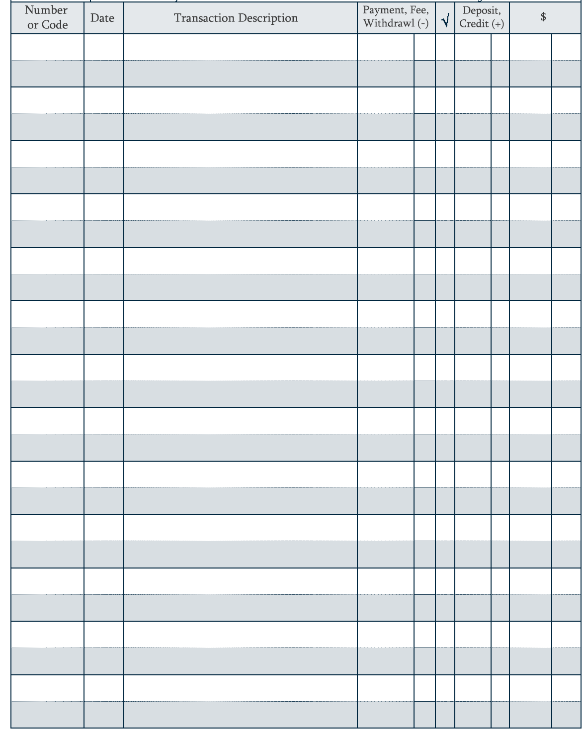 online checkbook register