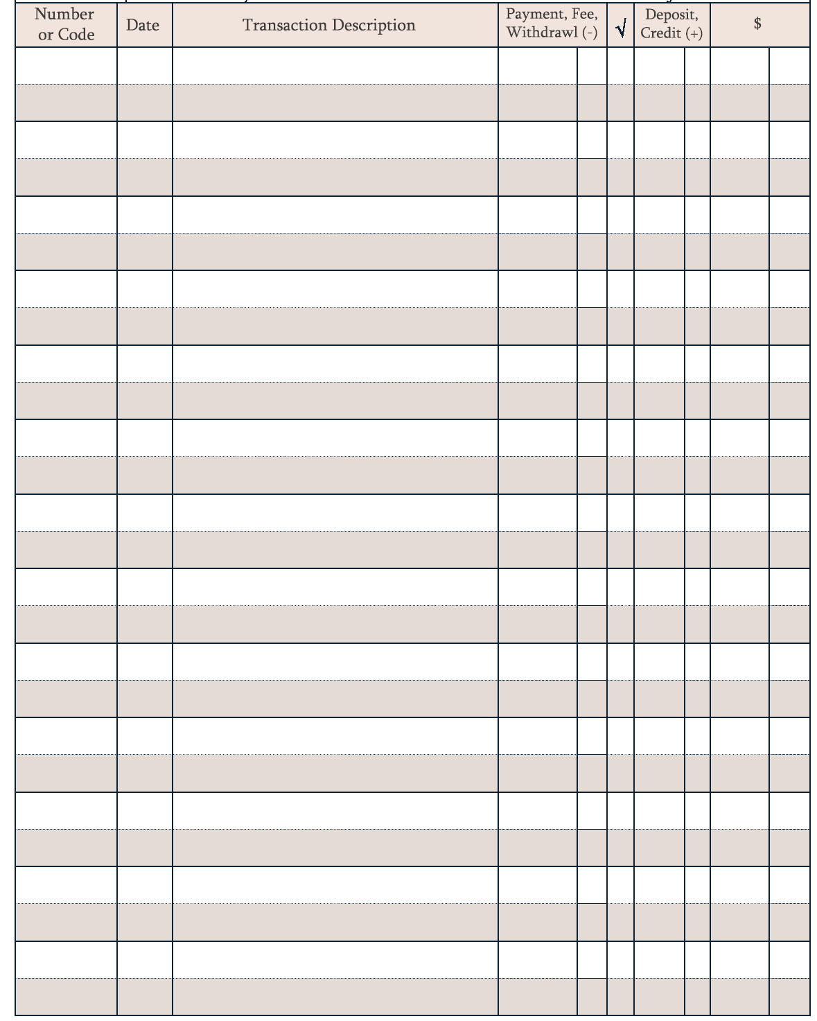 Download printable bank register free 2018 printable for Bank transaction register template