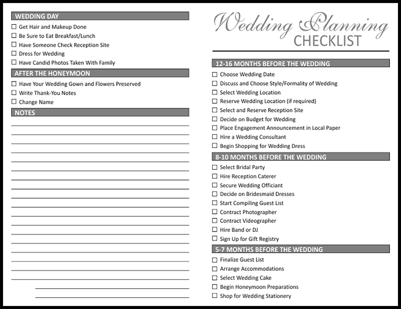 wedding planning checklists printable