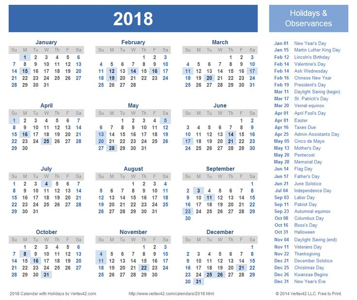 Printable calendar 2017 with federal holidays list - Download Free ...