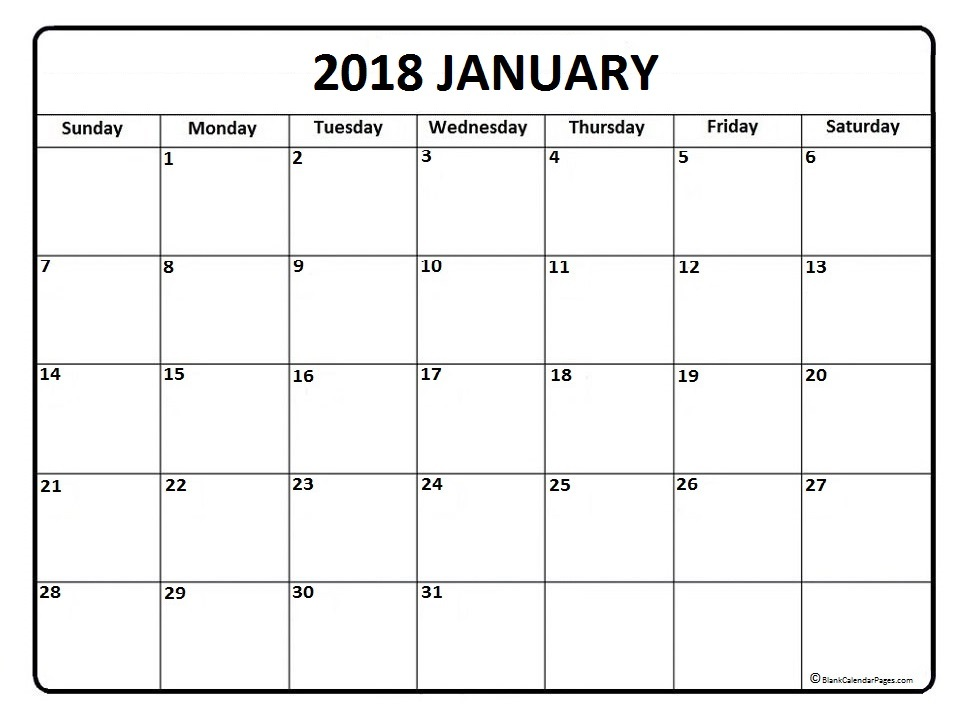 January Calendar 2018 : January printable calendar download free