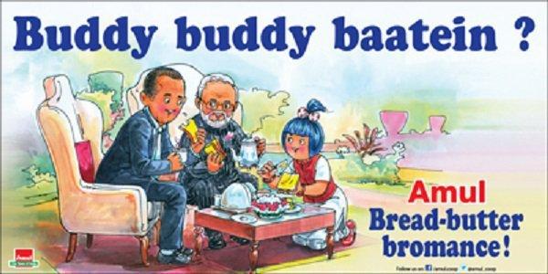Best amul ads about Modi Obama tea meet