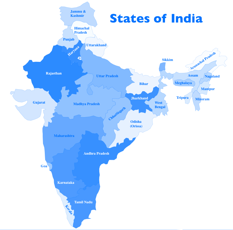 india map with states pdf download