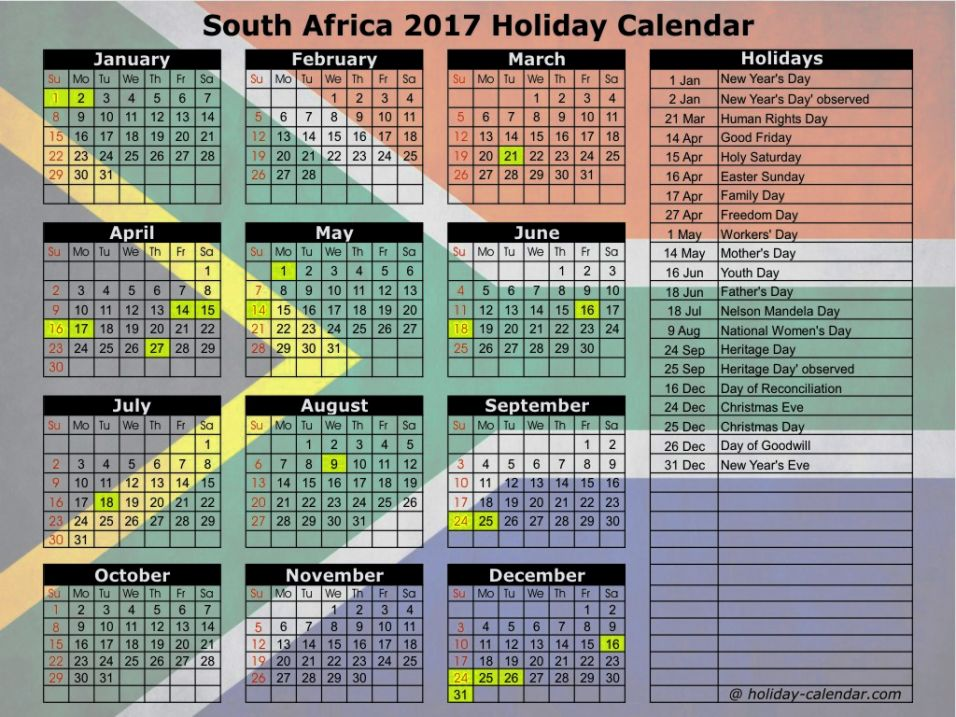 calendar for 2018 south africa - Download Free Printable Graphics
