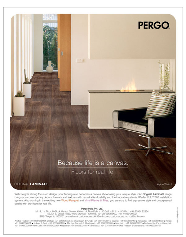 Flooring designs ads Pergo brand