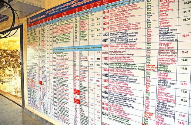 Indian railway train time table south