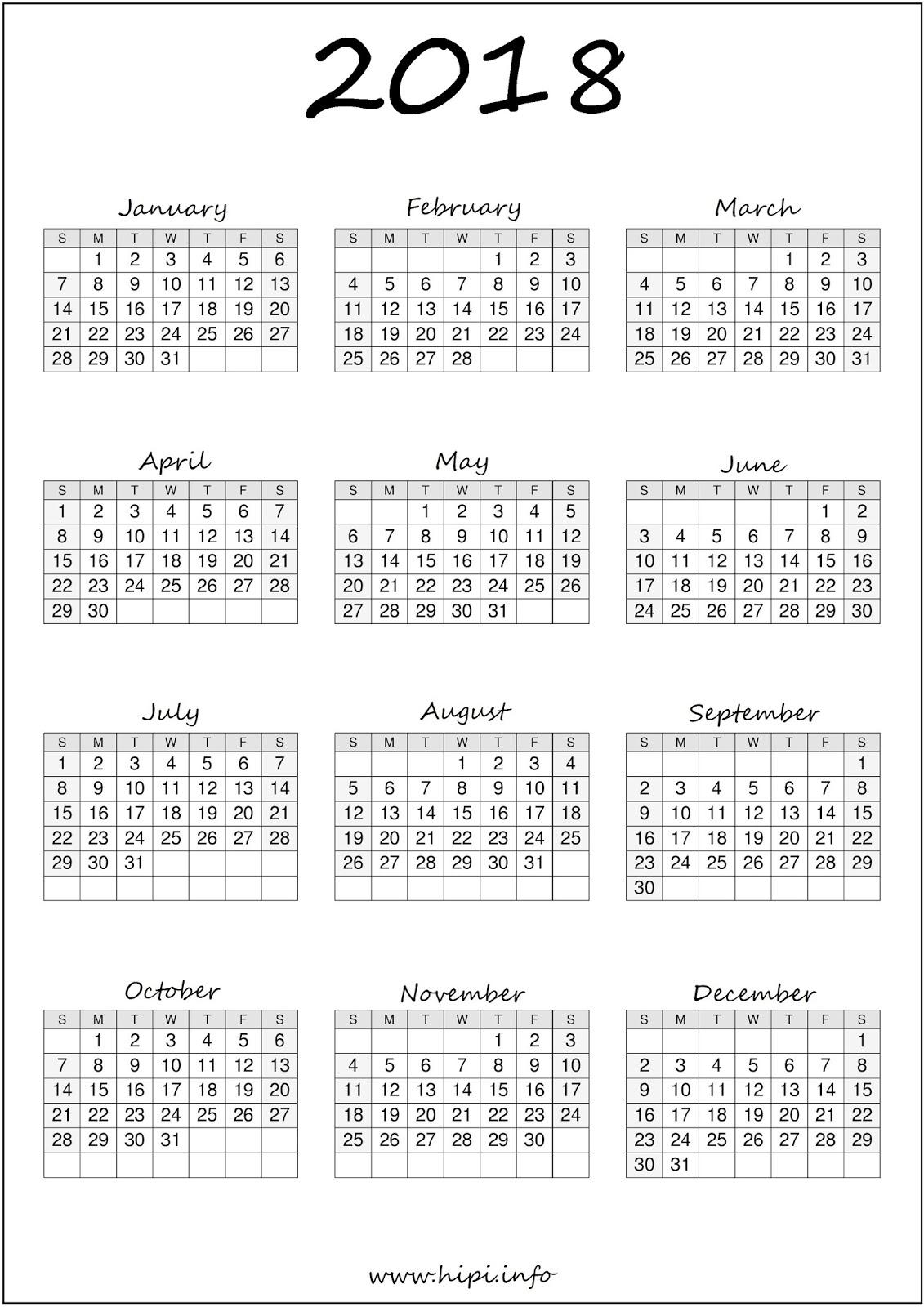 Bullet Journal Printable Calendar 2018 A4 Download Free Printable Graphics