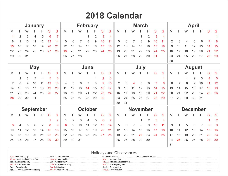 Calendar Holidays List : Printable calendar with holidays download free