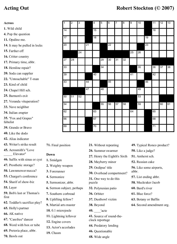 Printable crossword puzzles – 2020 Printable calendar ...