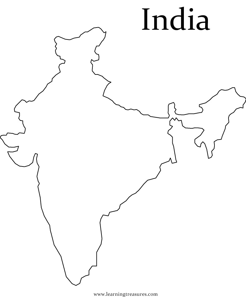 Printable Outline Map Of India 6 Download Free