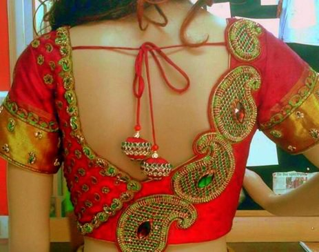 Red Blouse designs images new 2017