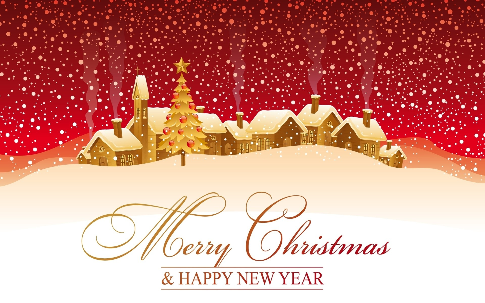 Printable Merry christmas and happy new year greeting card