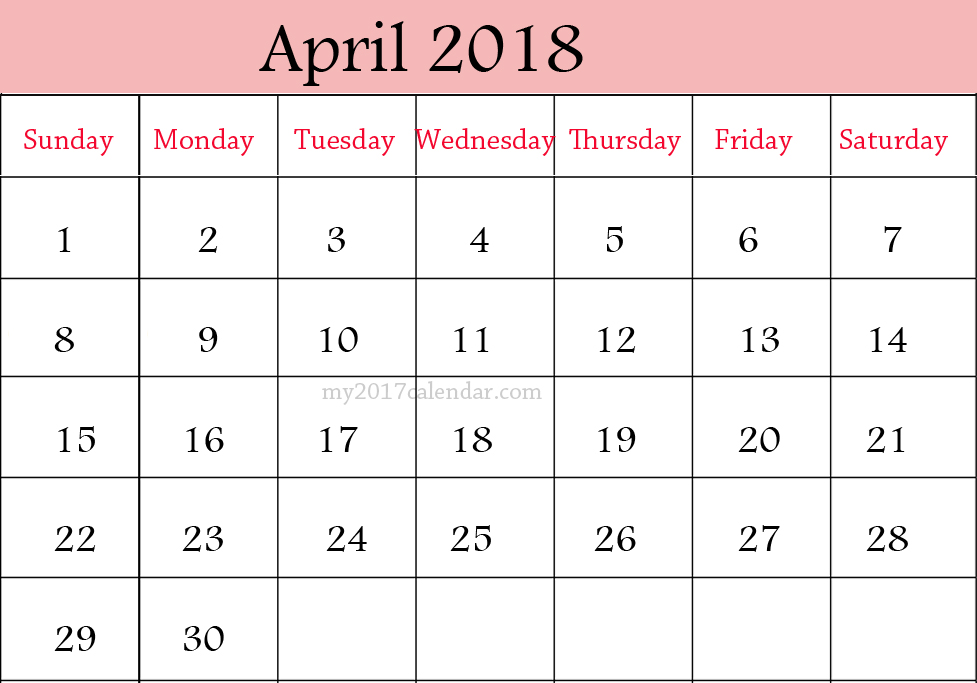 April 2018 printable calendar big size