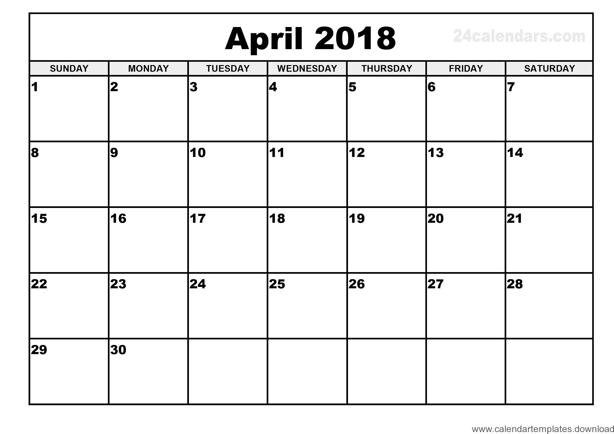 April 2018 printable calendar download