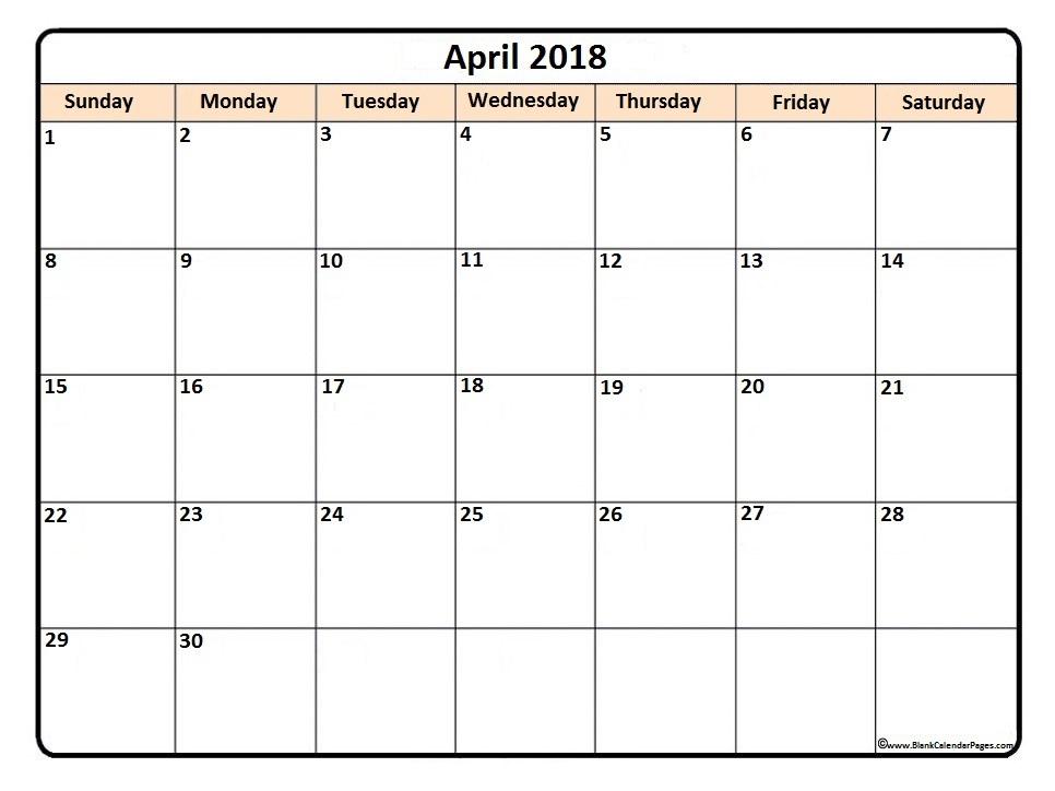 April 2018 printable calendar simple