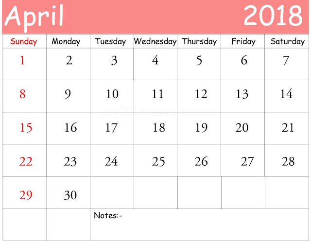April 2018 printable calendar with space to make notes