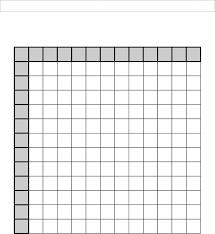 Blank Multiplication tables worksheet printable for teachers