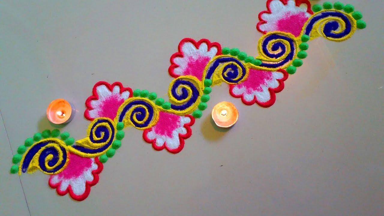 Diya border rangoli designs for doors download free for Door entrance rangoli designs