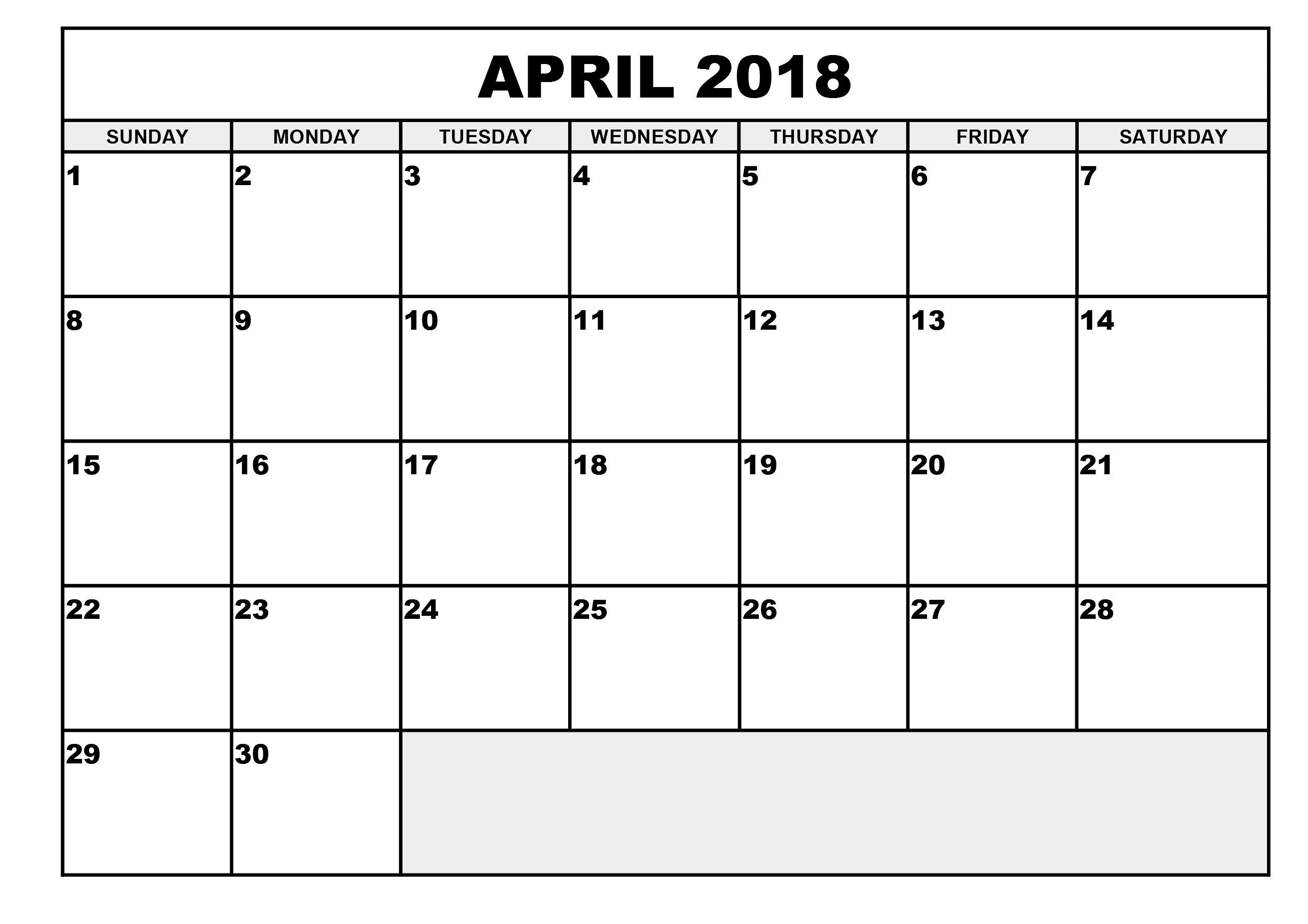 Download April 2018 printable calendar free