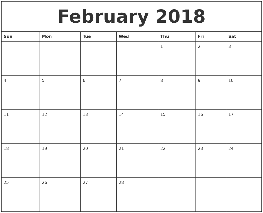 Download February 2018 calendar printable