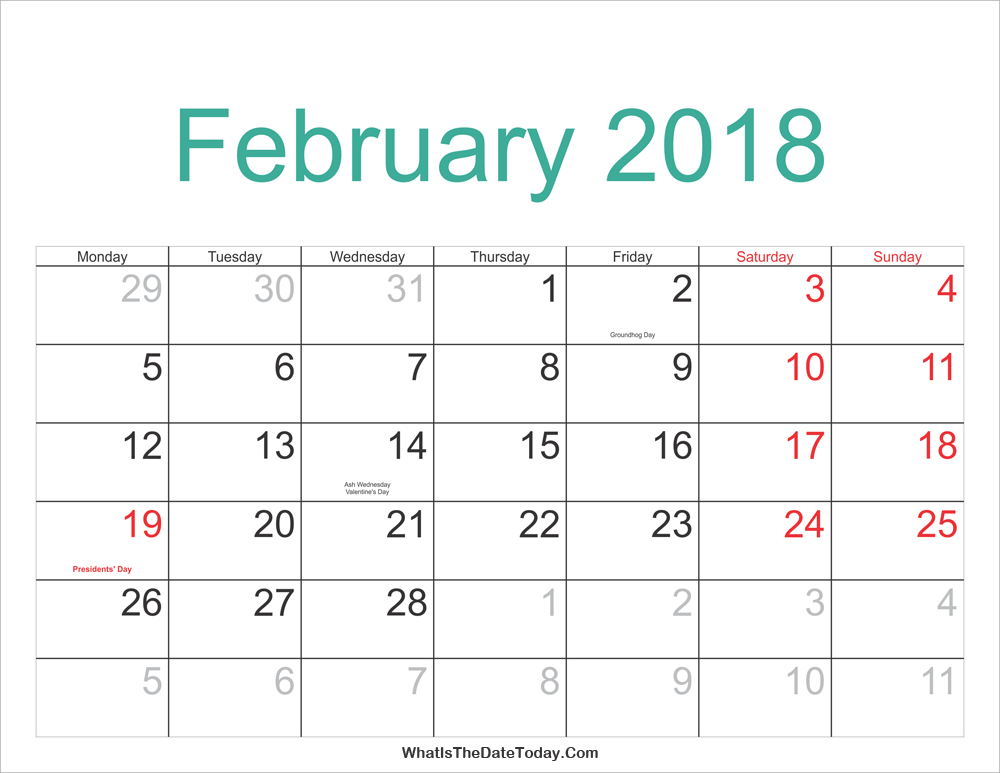 Download February 2018 calendar with holidays