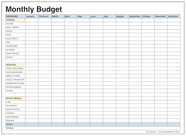 Download Printable monthly budget template free