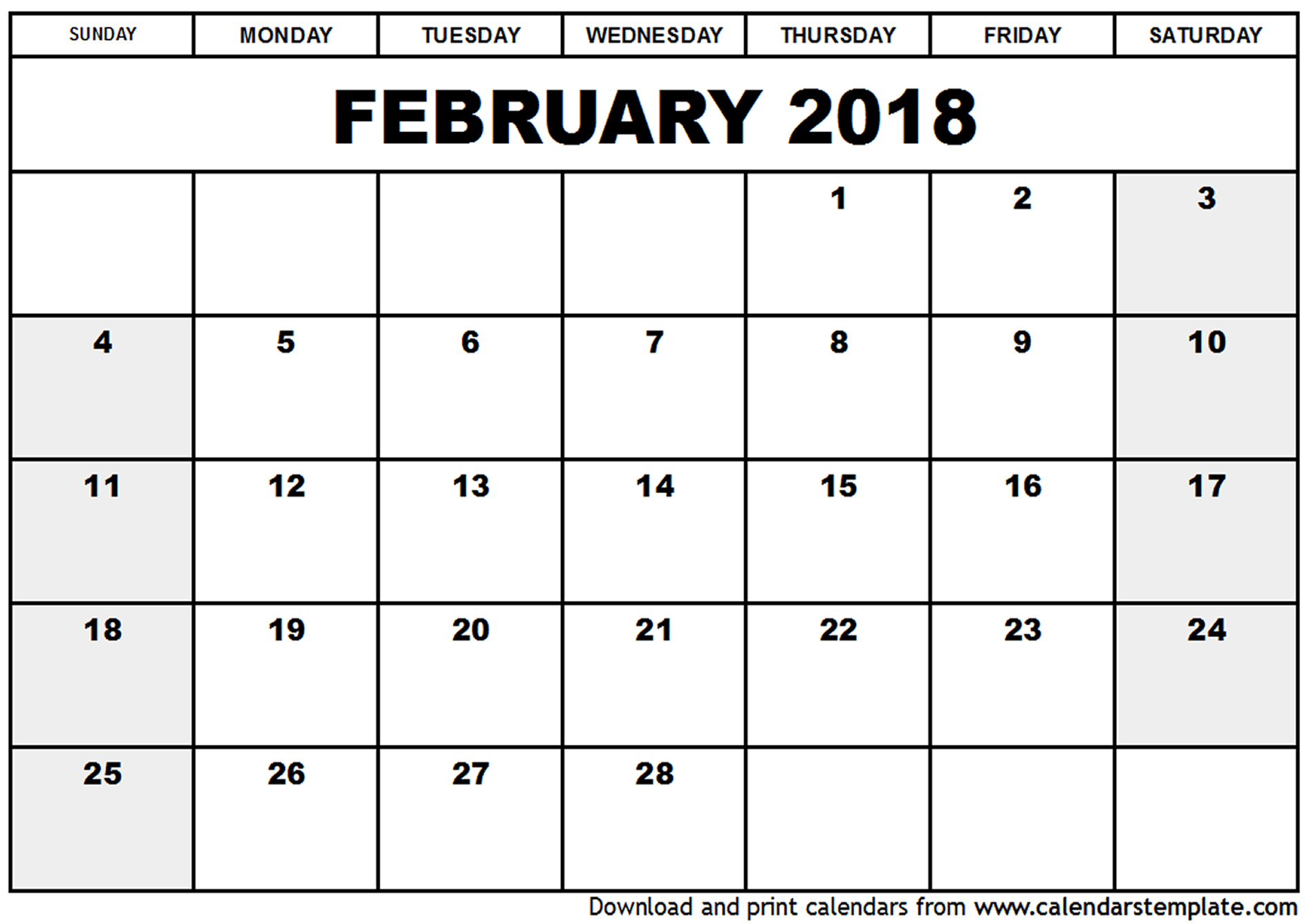 Download free February 2018 calendar printable