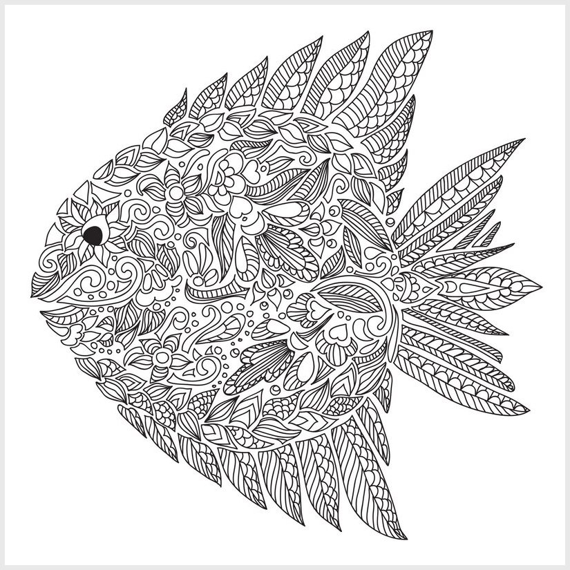 Fish - Printable coloring pages for adults