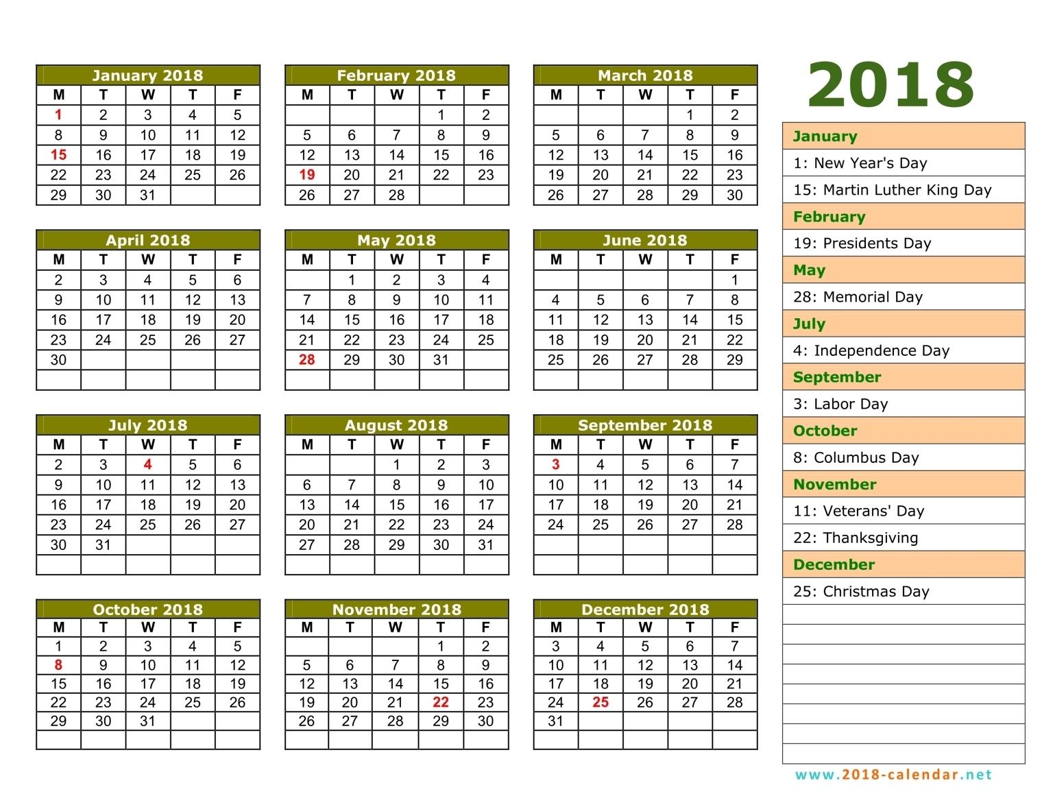 2015 and 2018 calendar printable