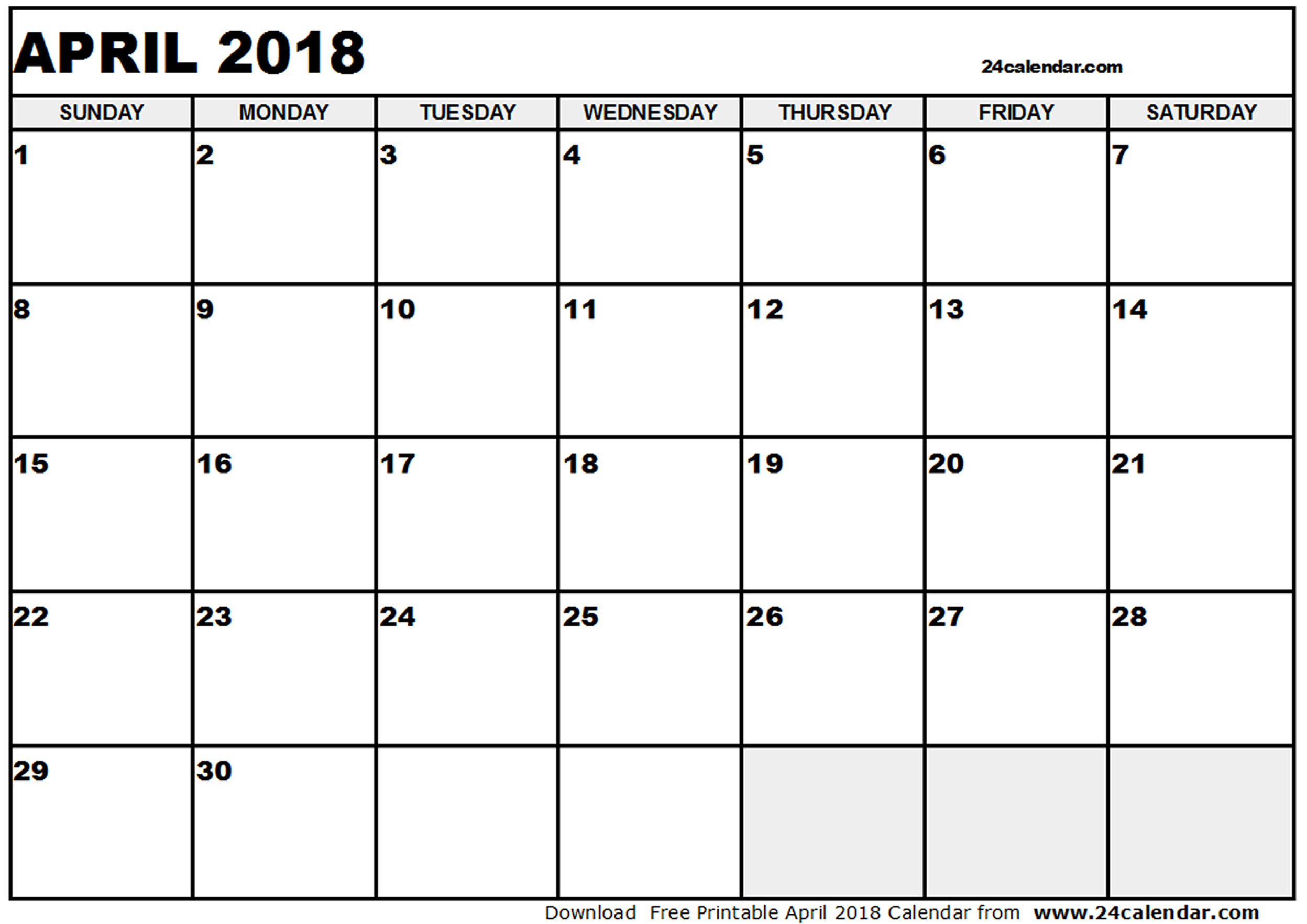 Free April 2018 printable calendar download