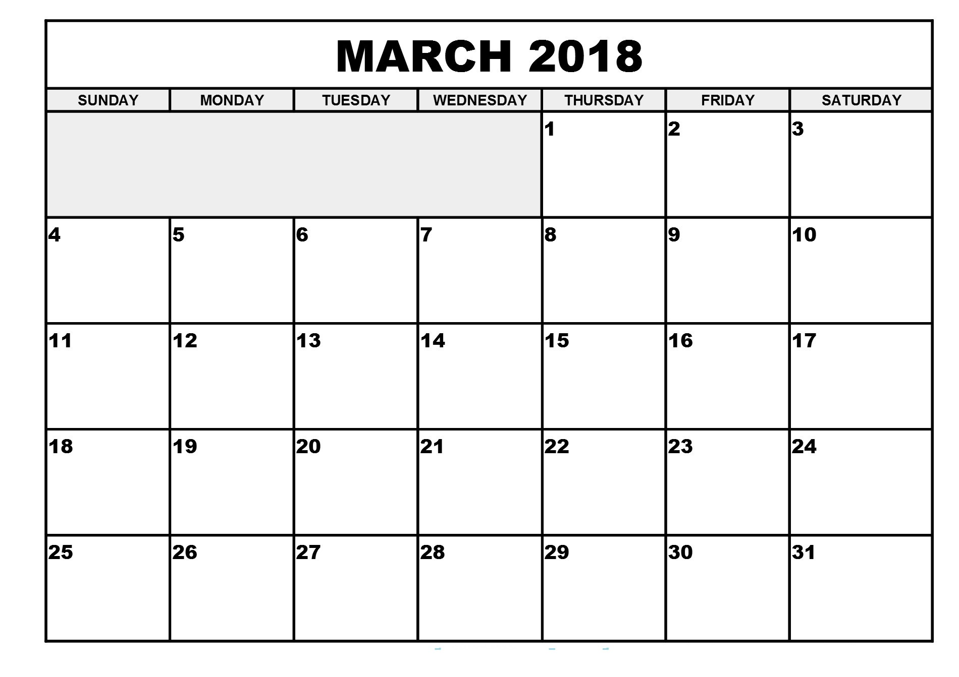 Free March 2018 printable calendar download