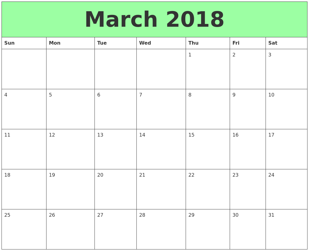 Free March 2018 printable calendar download