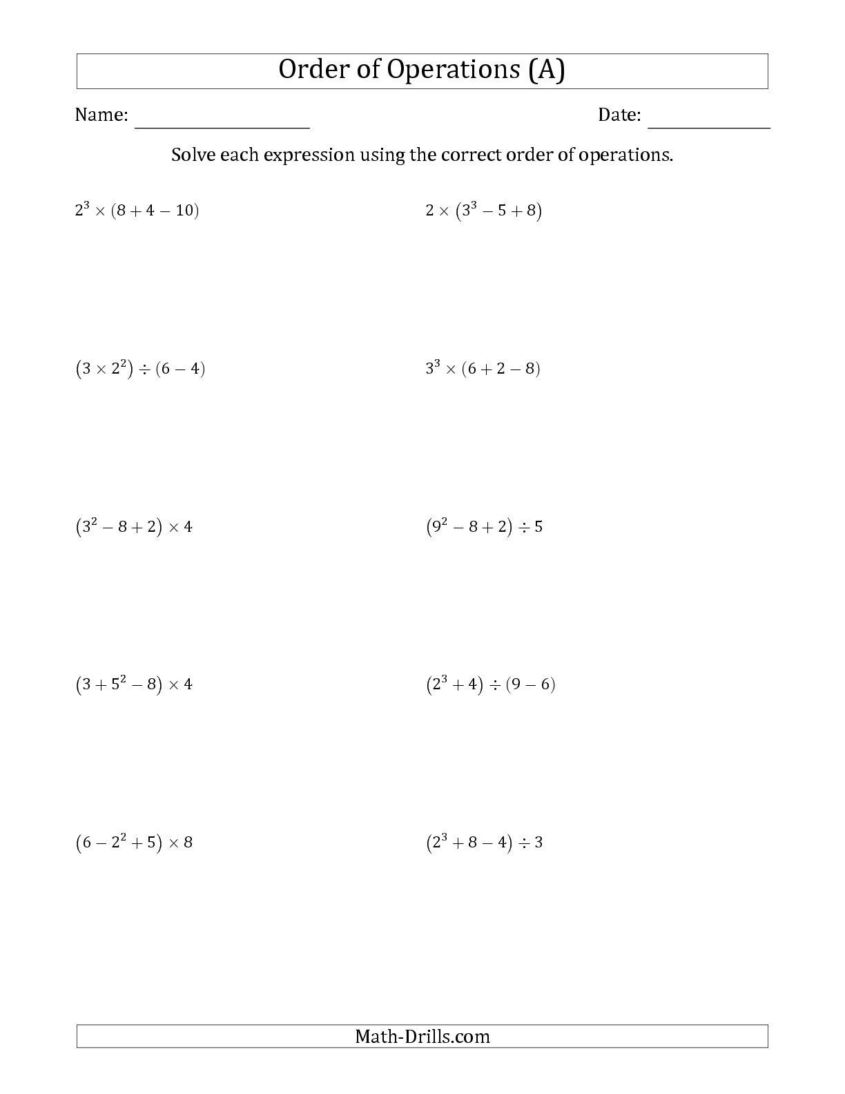 Free Order of operations worksheet printable
