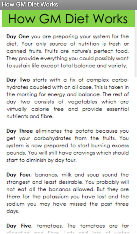 How Gm diet plan works for body weight loss