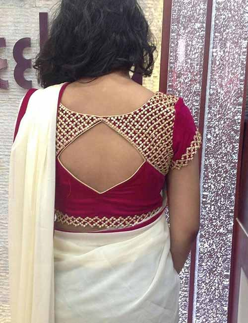 images of blouse back neck designs with borders 2018