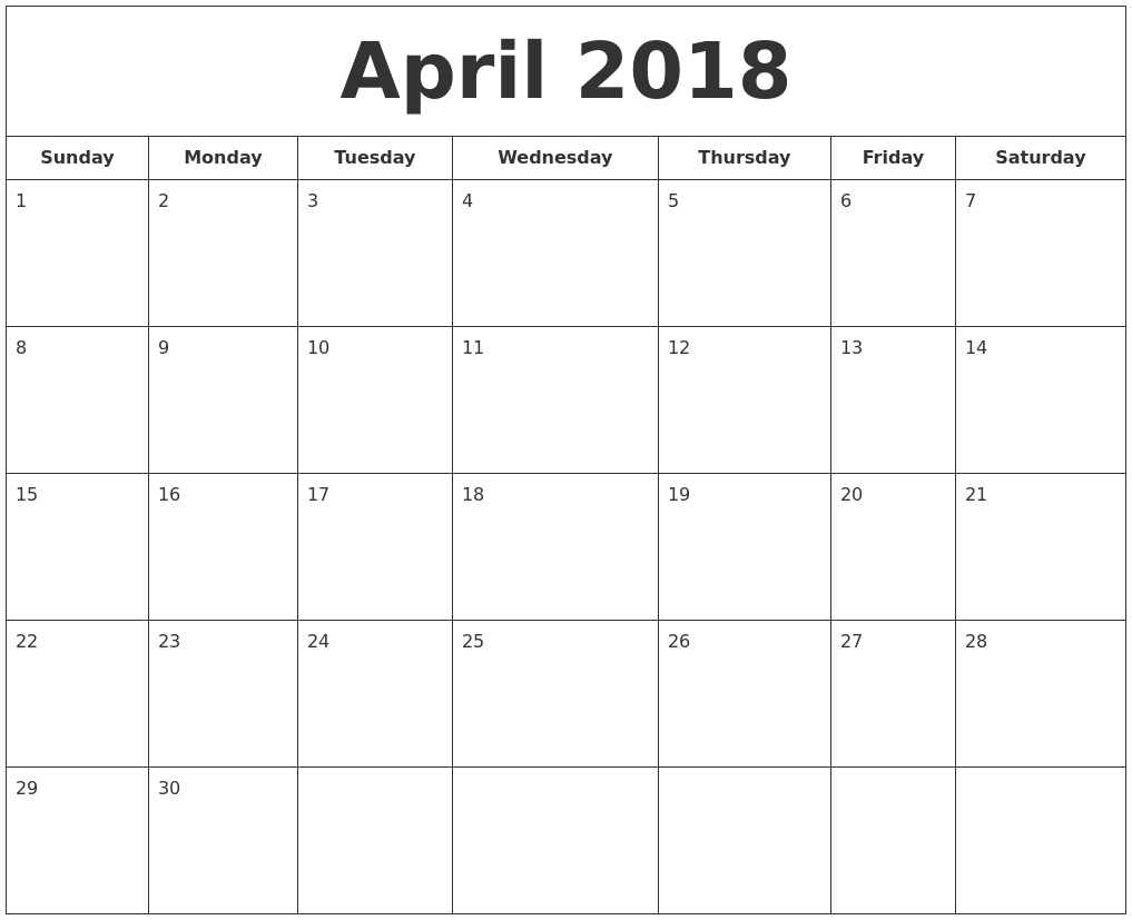 Monthly April 2018 printable calendar free