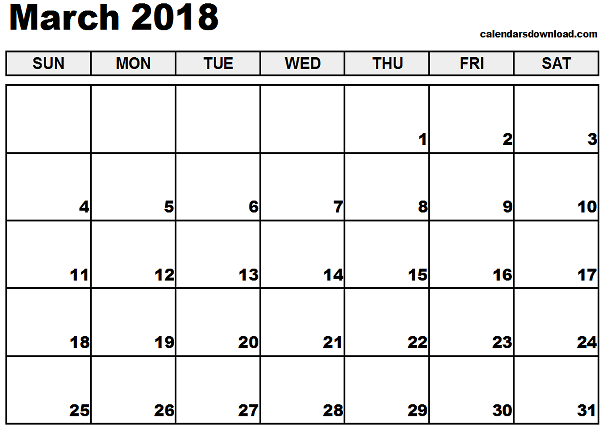 Monthly March 2018 printable calendar free