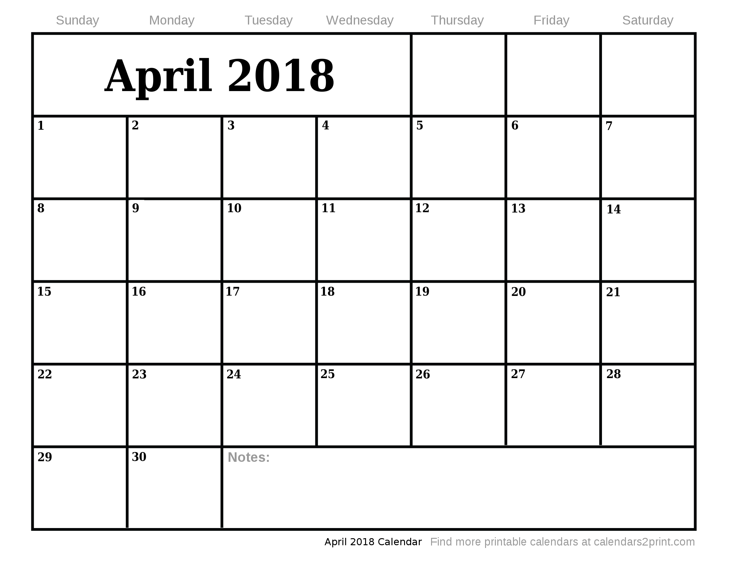Calendar 2018 April May Printable