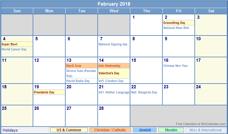 Printable February 2018 calendar with holidays
