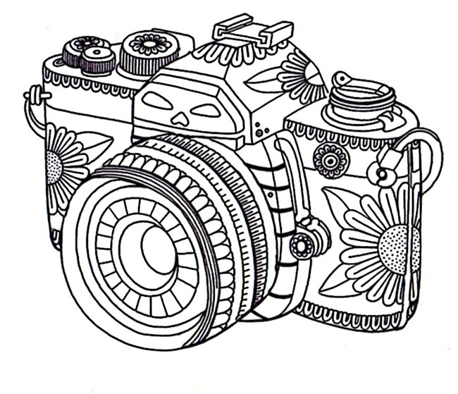 Printable coloring pages - camera