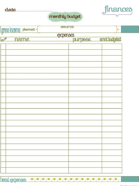 free printable monthly budget templates