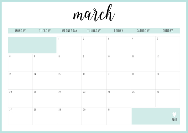 Printable monthly planner for march month