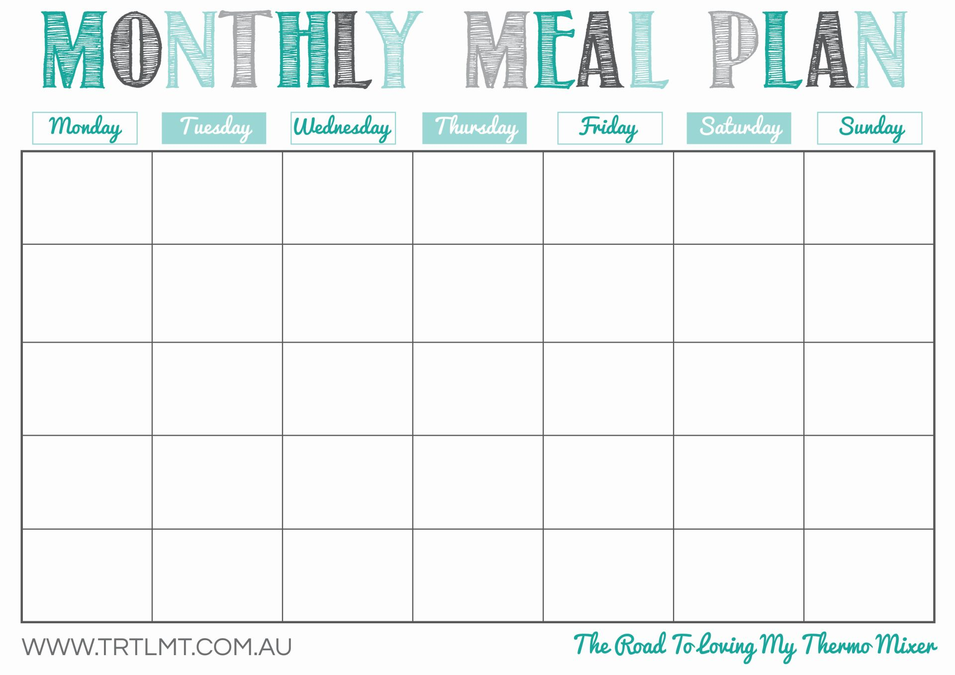 Printable monthly planner for meal management for diet