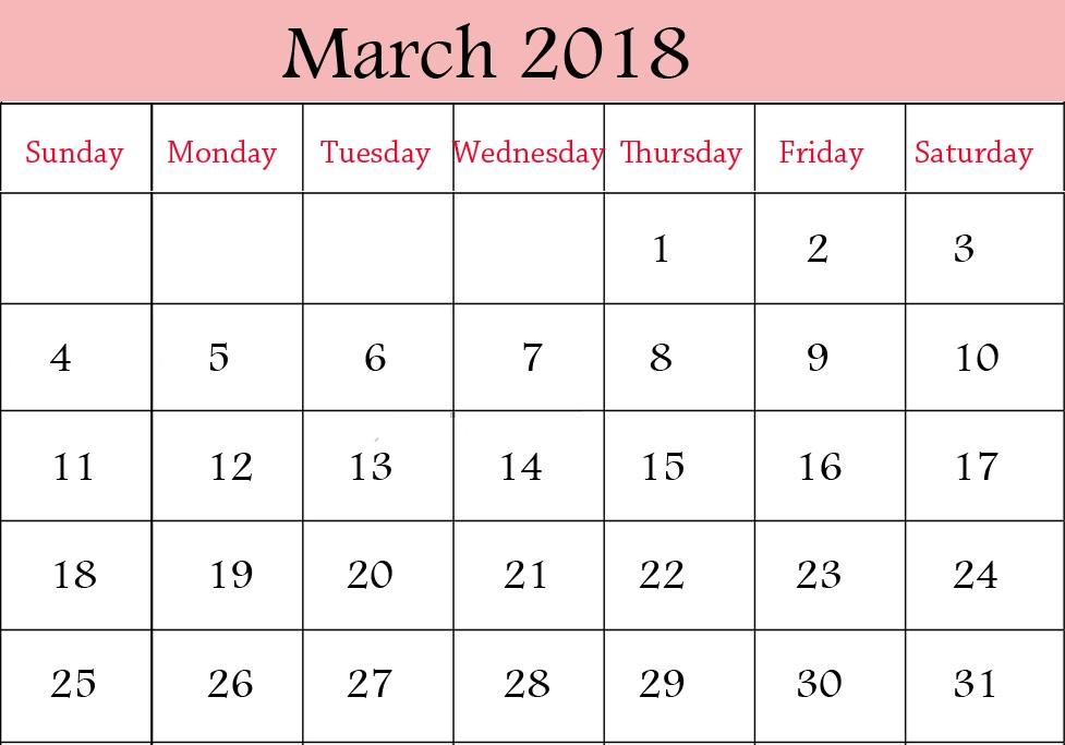Simple March 2018 printable calendar
