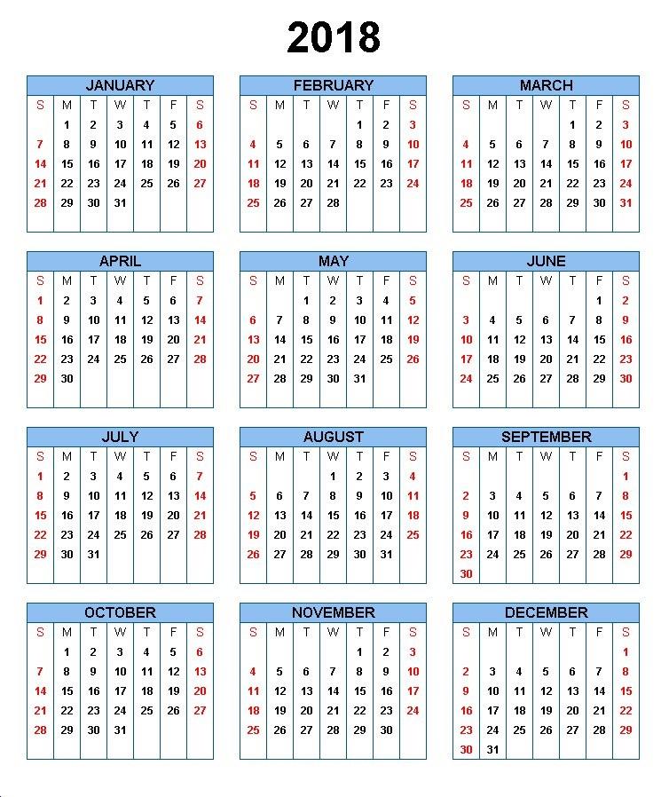 Annual Printable calendar 2018 america