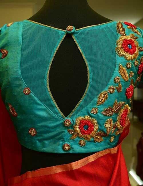 Colourful blouse neck design 2017 latest images