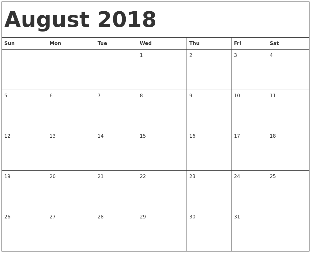 Download August 2018 calendar printable