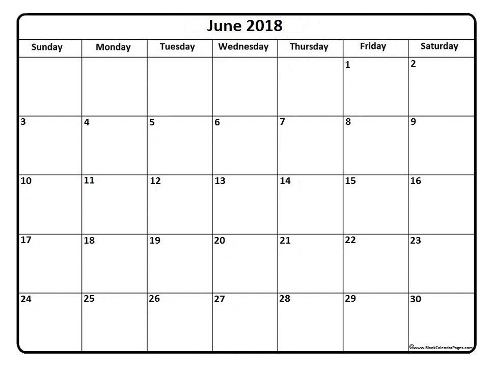 Download June 2018 printable calendar