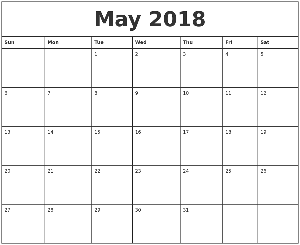 Download May 2018 calendar printable