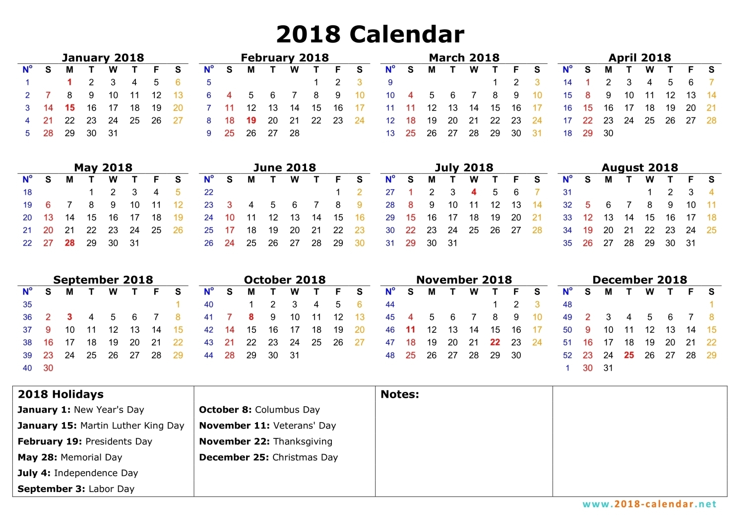 Download Printable us calendar 2018 free